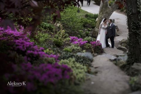 Wedding First look Photos | Japanese Garden