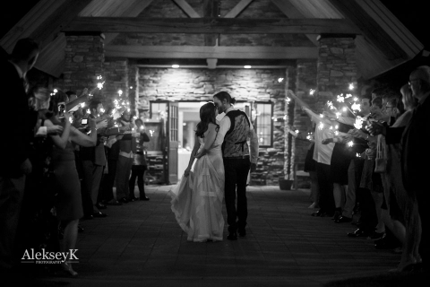 timberlodge wedding photos Akron NY | Sparklers Exit