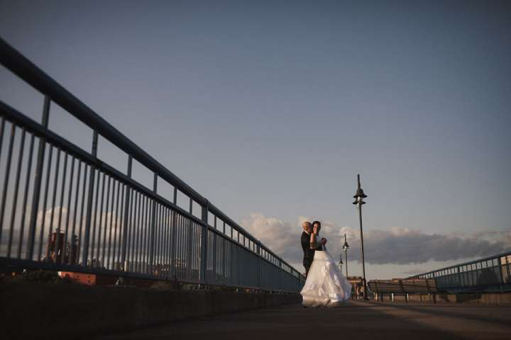 portrait of the Bride and Groom at sunset | La Luna | Rochester NY