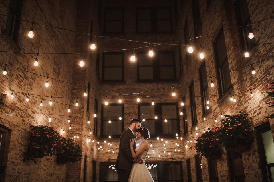 portrait of the Bride and Groom night photo Green House | hotel at the lafayette wedding