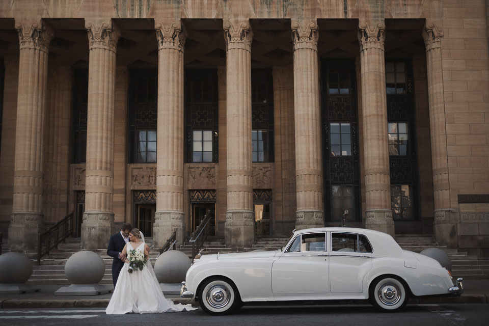 Portrait of the Bride and Groom at City Hall Buffalo NY