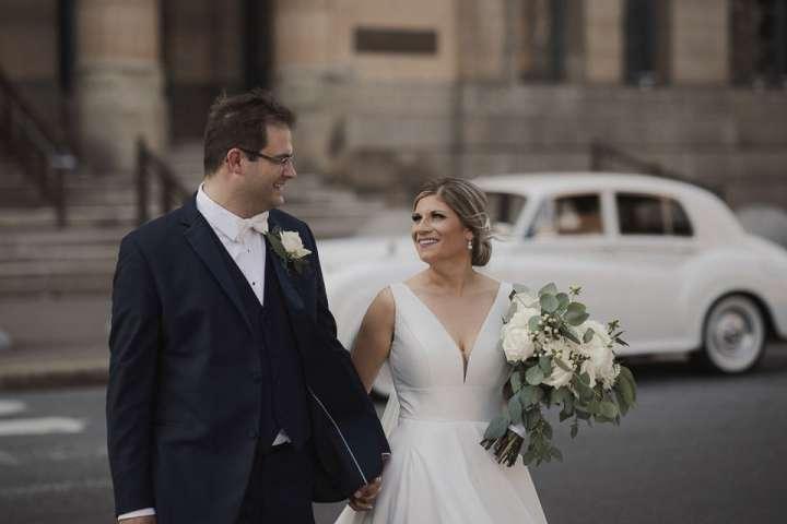 Portrait of the Bride and Groom at City Hall Buffalo NY