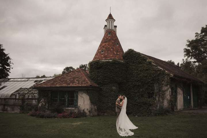portrait of the Bride and Groom at knox farms state park