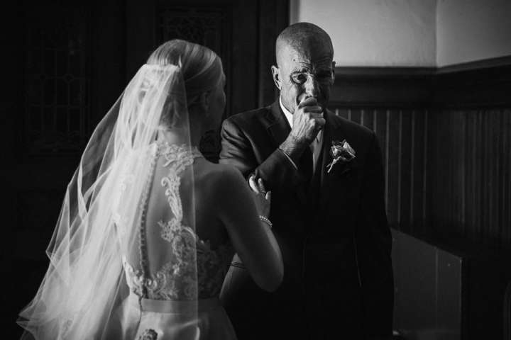 Real moment of first look with dad at wedding