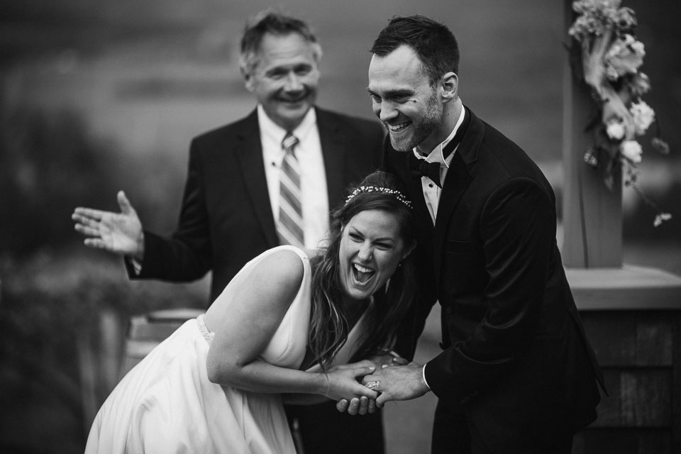 Bride and Groom have a funny moment during ceremony