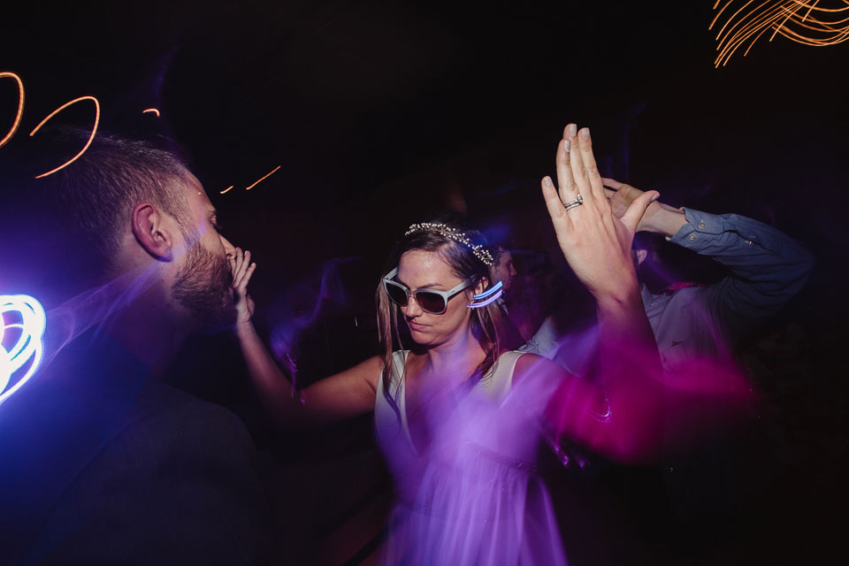 Cool bride dancing at wedding