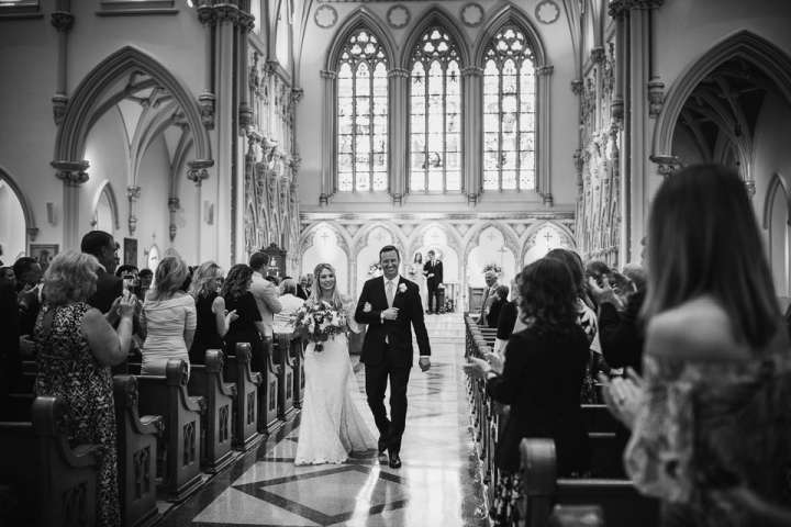 Bride and Groom walking down the aisle | St. Joseph's Cathedral Buffalo NY