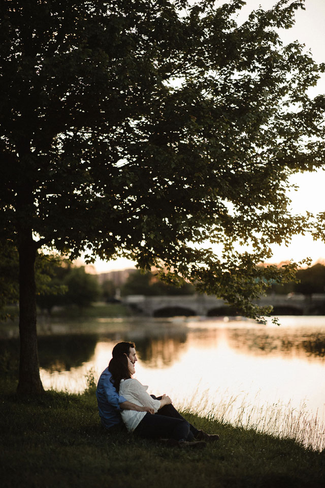 engagement session portrait of bride and groom at Hoyt Lake Buffalo NY