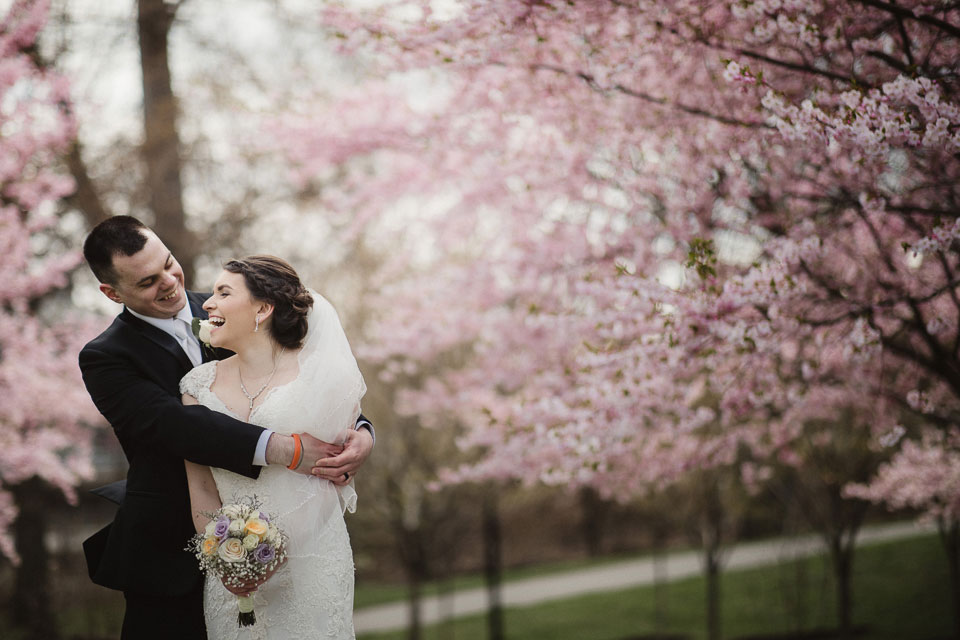 Japanese Garden, Buffalo NY | Cherry Blossom | Portrait of Bride and Groom | Buffalo NY