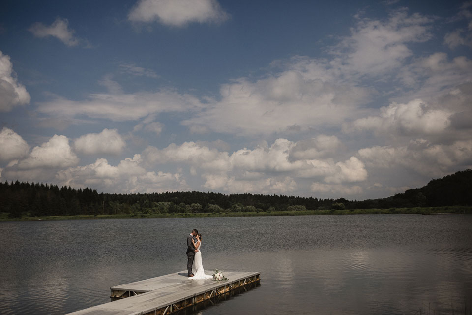 Portrait of the Bride and Groom at wedding | The Woods at Bear Creek