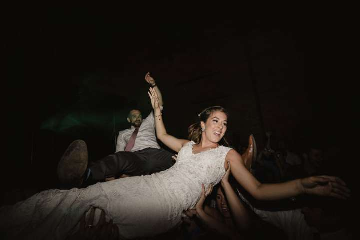 Bride dancing during wedding