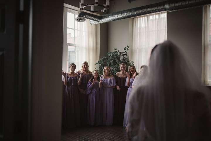 Bride with Bridesmaids Foundry Suites Buffalo NY