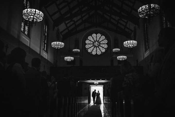 church ceremony | siluets bride walking down the aisle