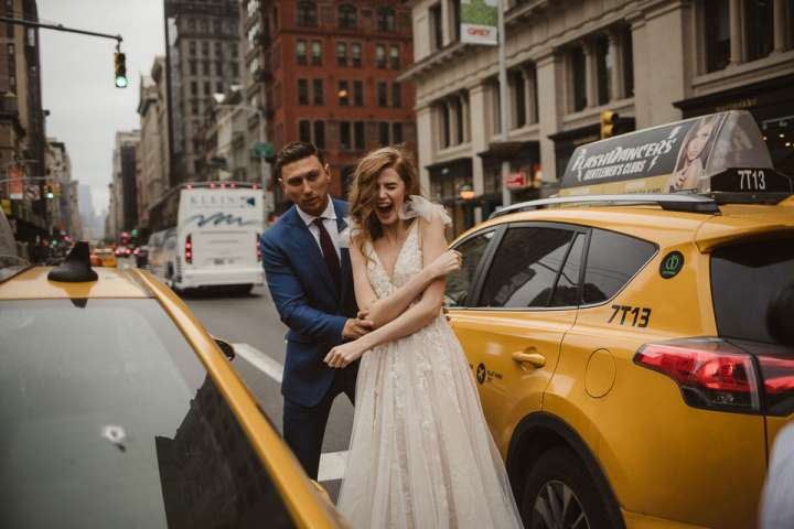 Living on the edge in NYC | Portait of Bride and Groom NYC