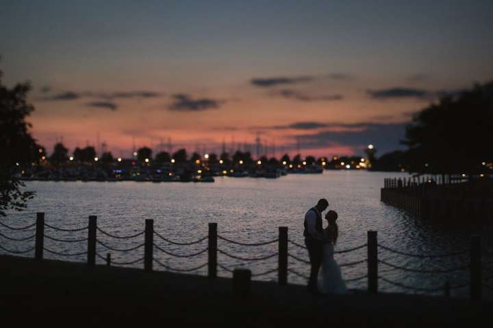 portrait of the Bride and Groom at sunset | templeton landing | Buffalo NY